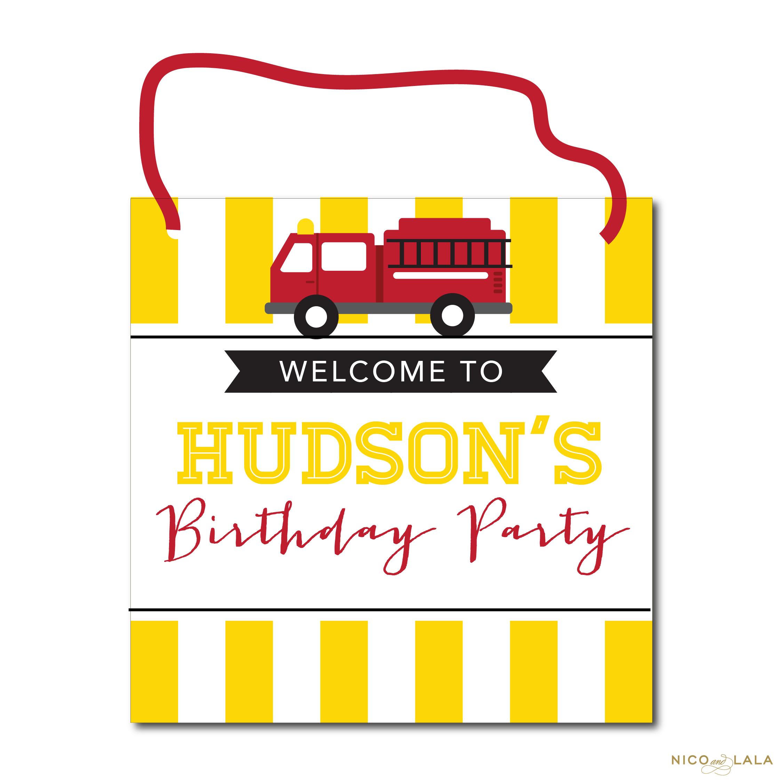 fire truck birthday door sign