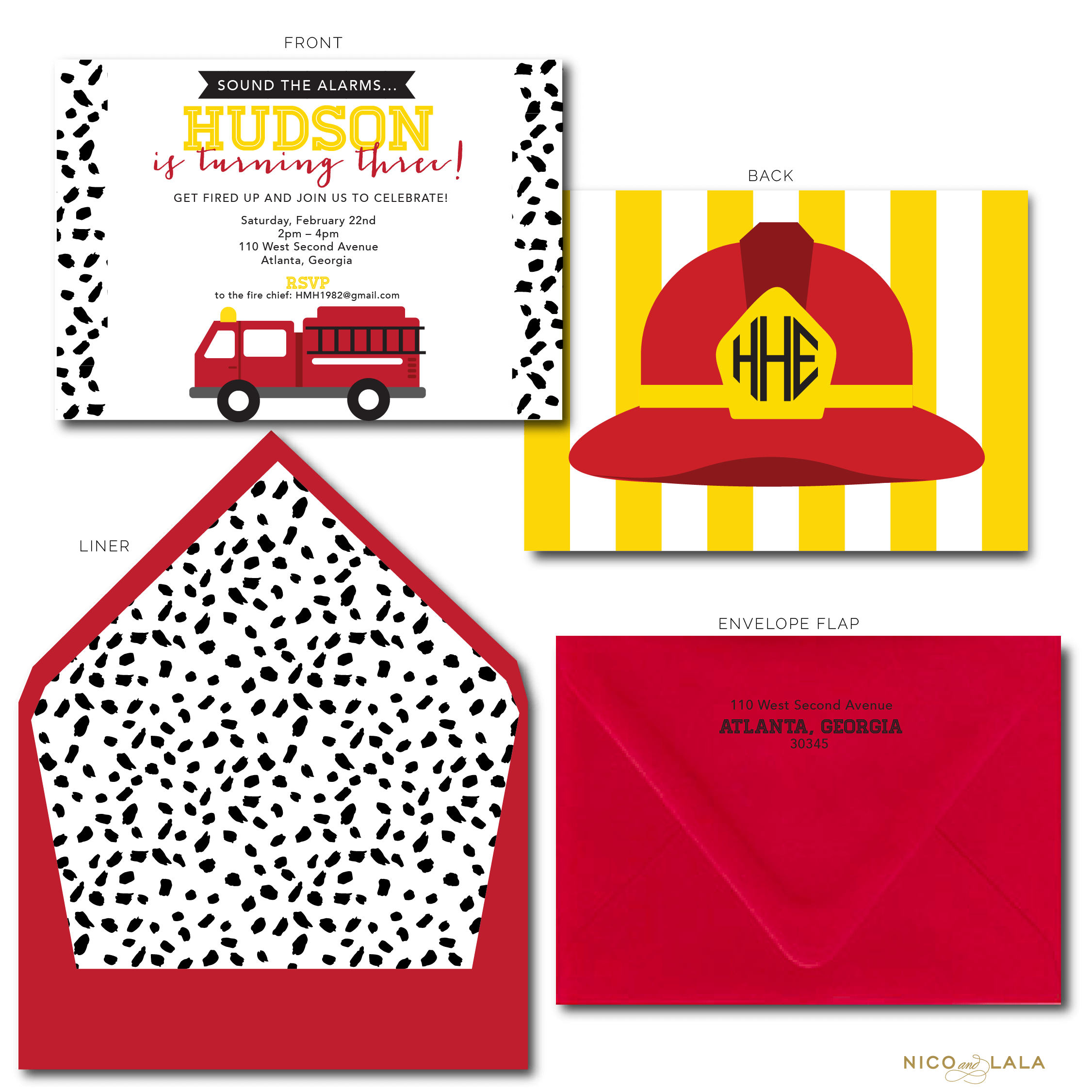 Fire Truck Birthday Invitations ⋆ Nico and Lala