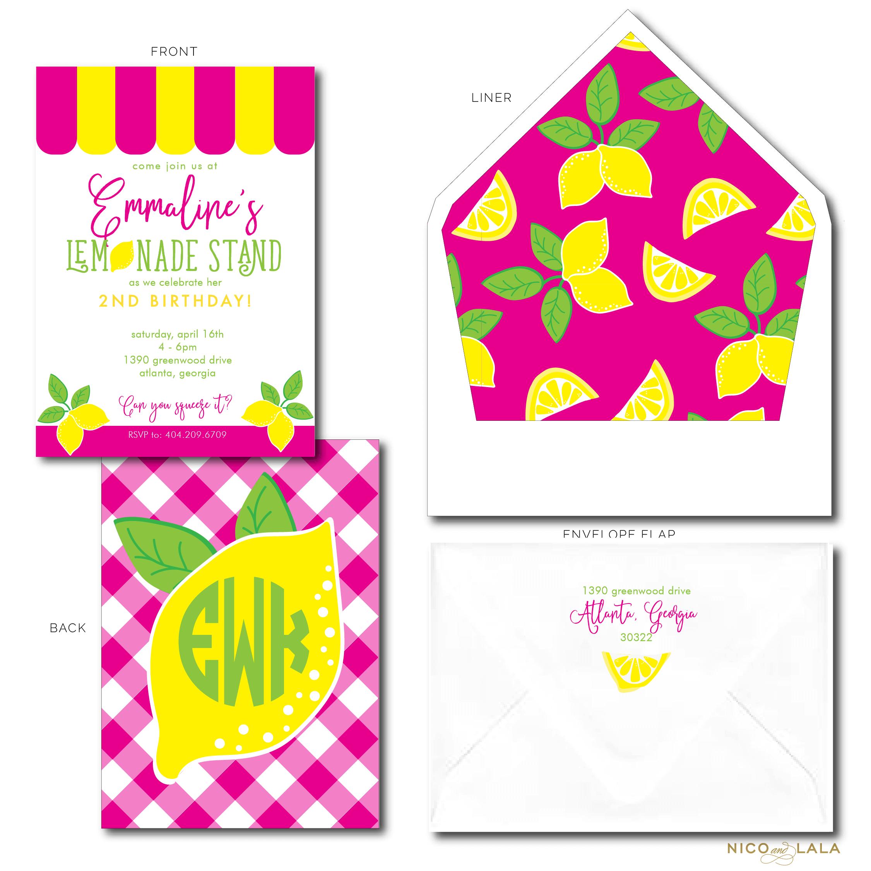 lemonade birthday invites