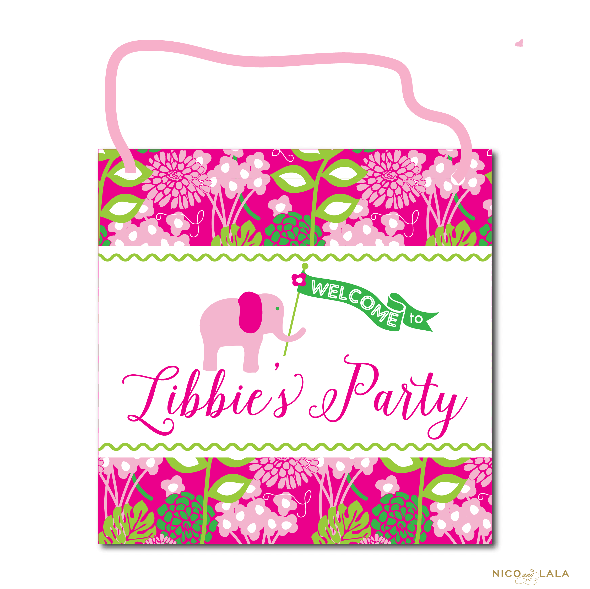 Lilly Pulitzer Themed Birthday Sign
