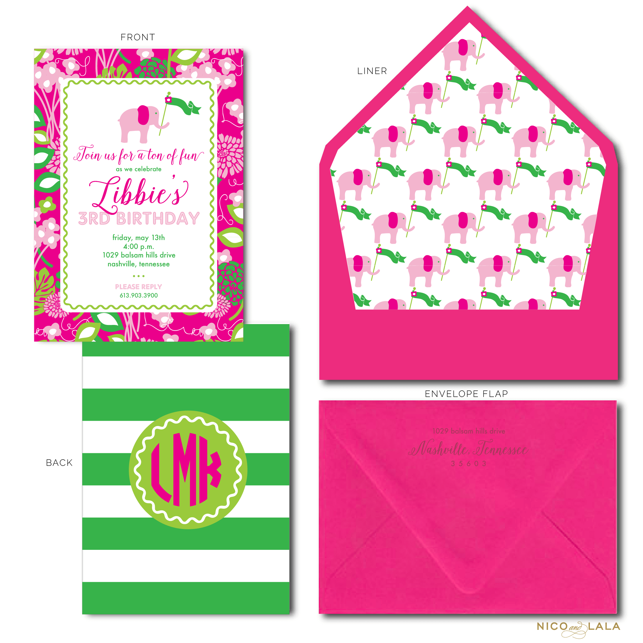 Lilly Pulitzer Themed Birthday Invitations