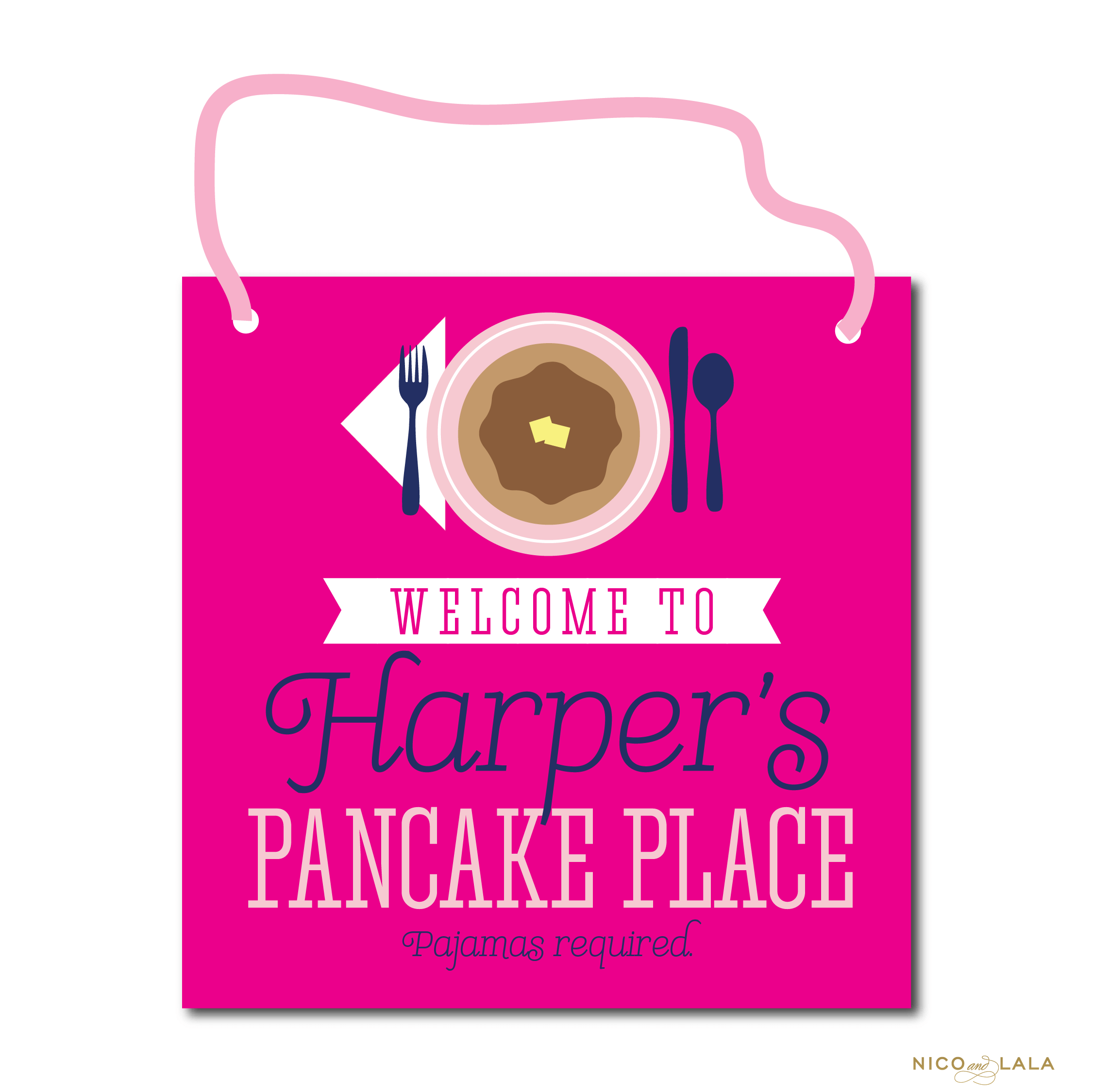 Pancakes and Pajamas Birthday Door Sign