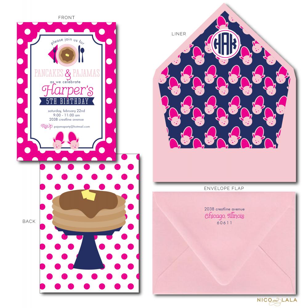Pancakes and Pajamas Birthday Invitations