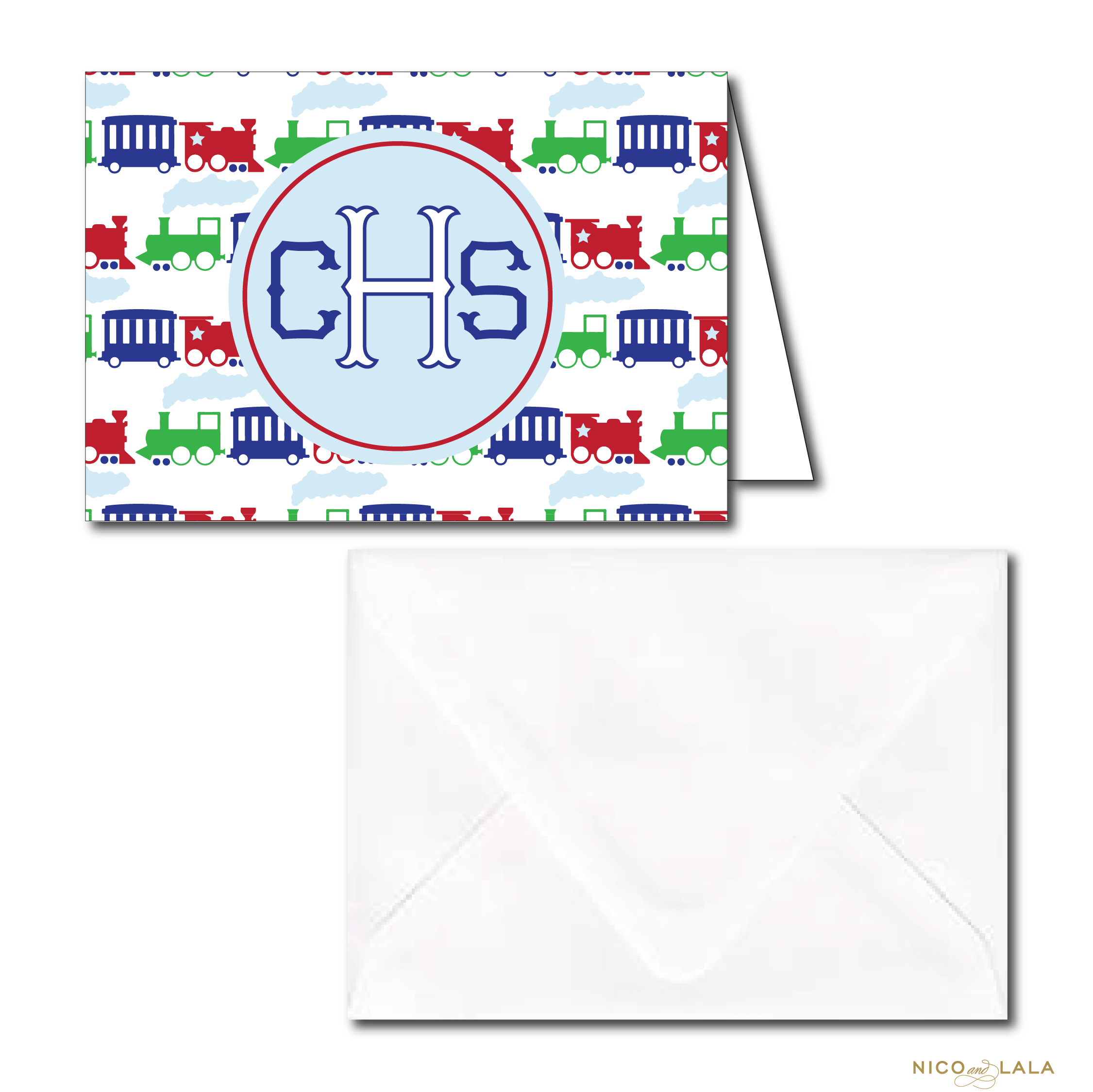 Monogrammed train stationery