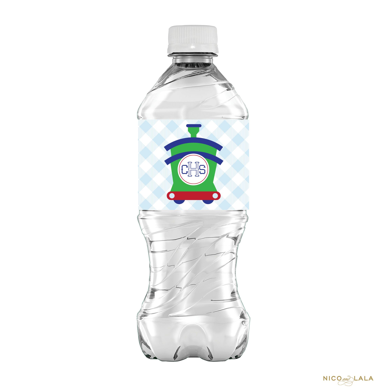 train birthday water bottle labels