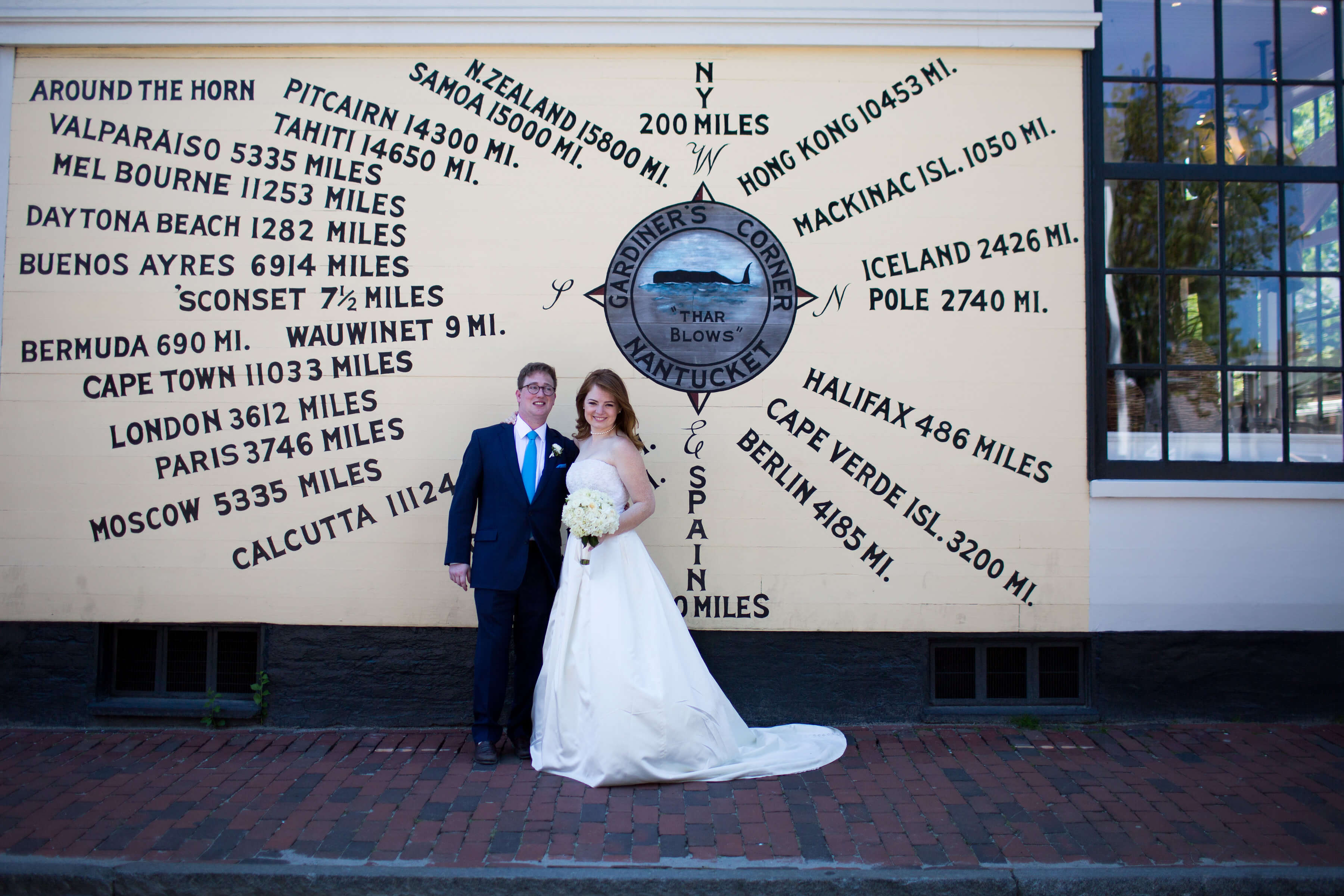 Bride and groom by Nantucket compass
