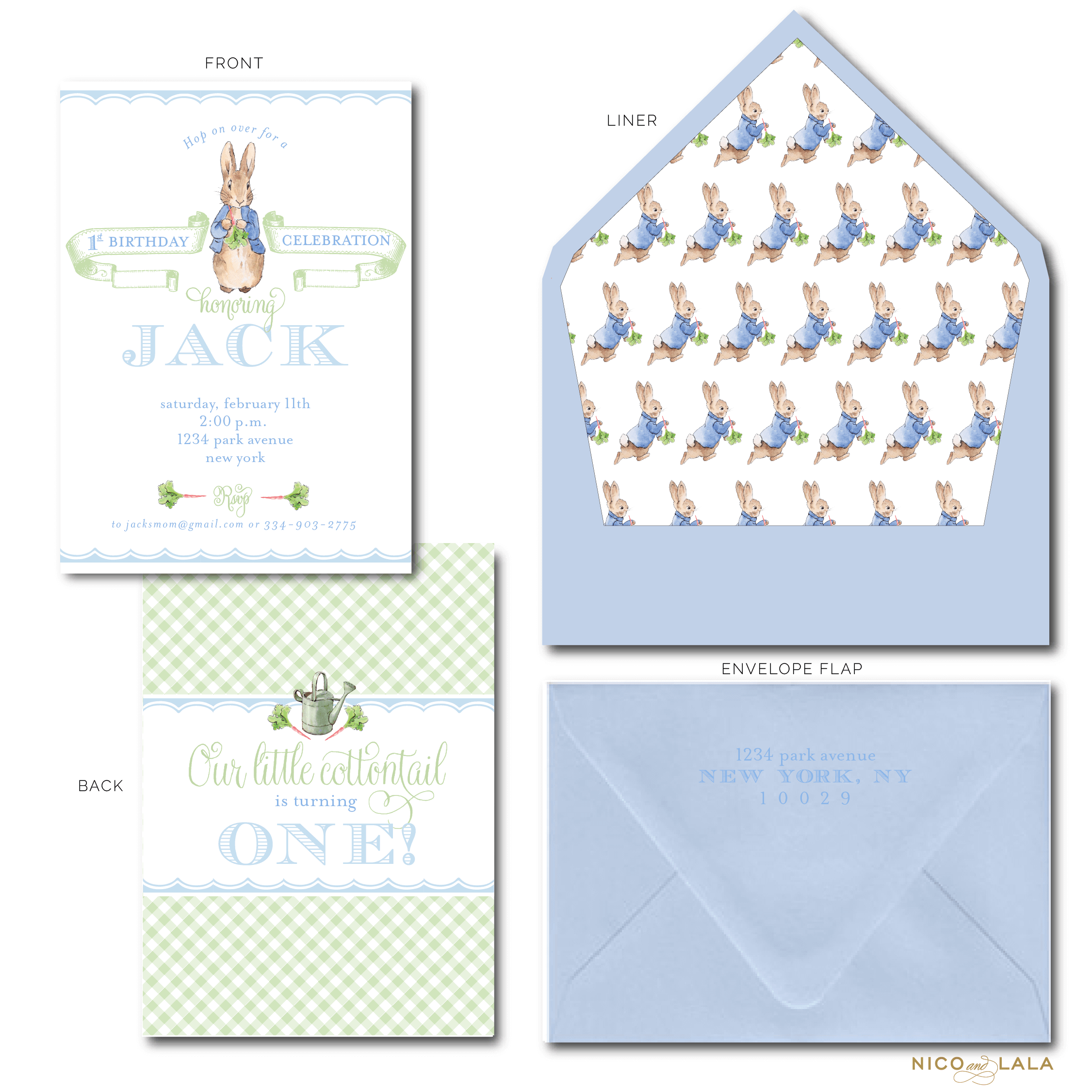 Boy Peter Rabbit birthday invitation