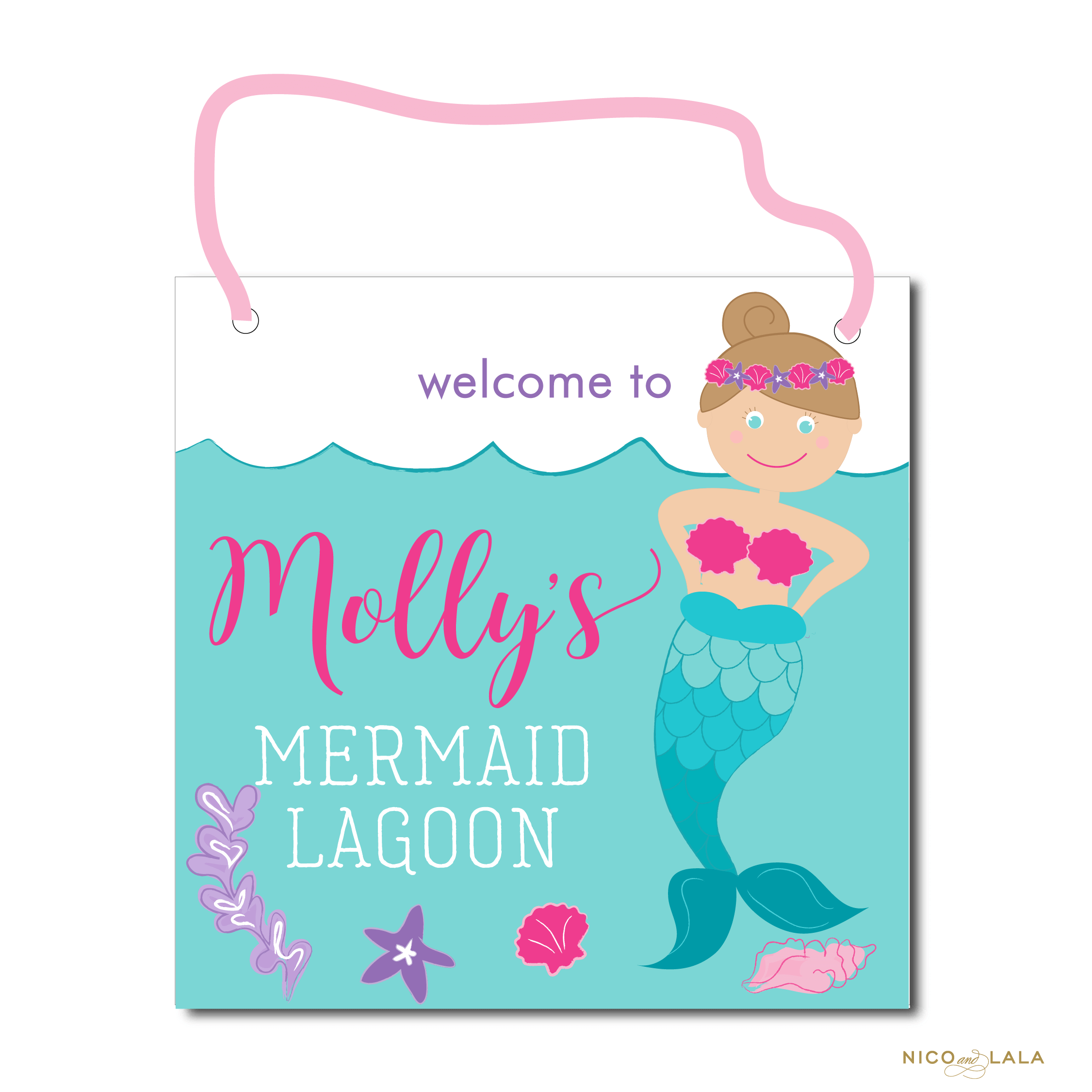Mermaid Birthday Door Sign