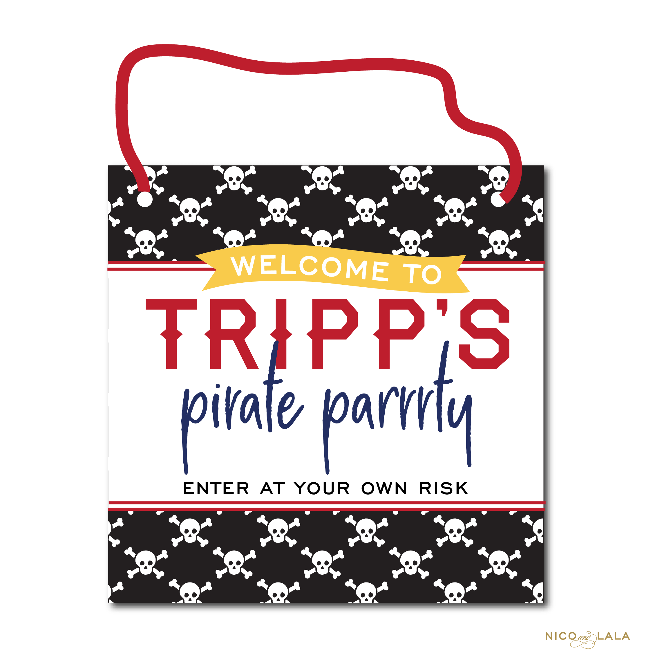 Pirate Birthday Door Sign