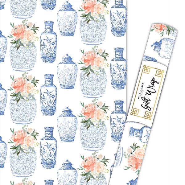 floral ginger jar gift wrap
