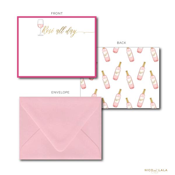 Rosé themed stationery