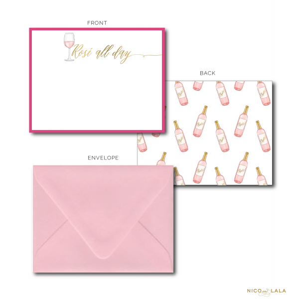 rosé all day stationery