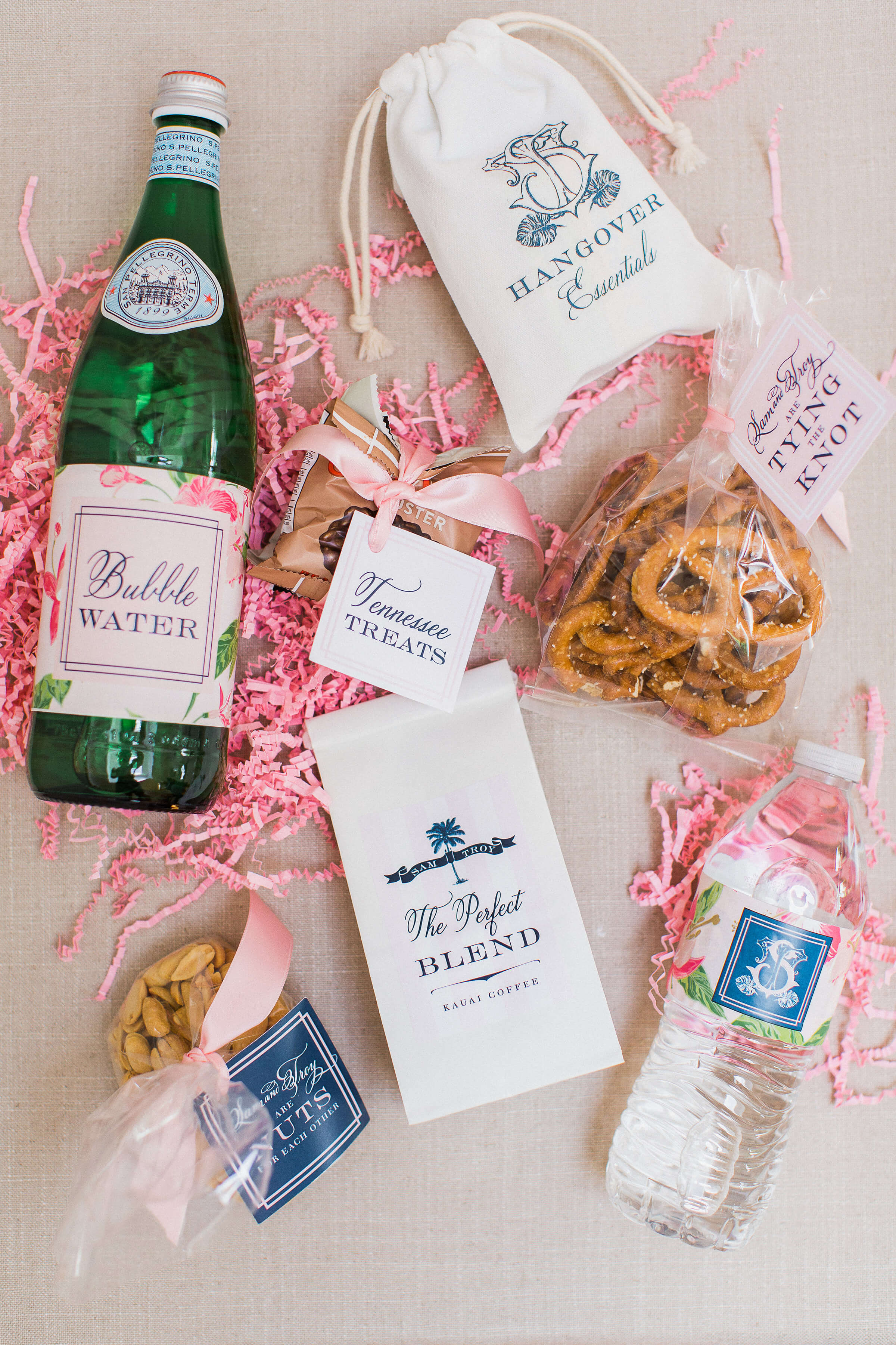 Blush And Gold Hawaiian Wedding Nico And Lala Chocolate Hawaiian Gift Bag. Hawaii Wedding Gift Bags Gift Ideas