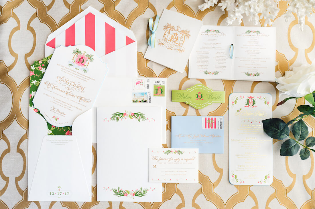 Pink, Green, and Gold Engraved Palm Beach wedding invitations
