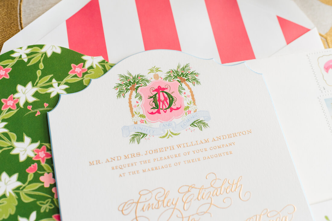 Pink and Green Wedding invitations with Engraved Wedding Logo