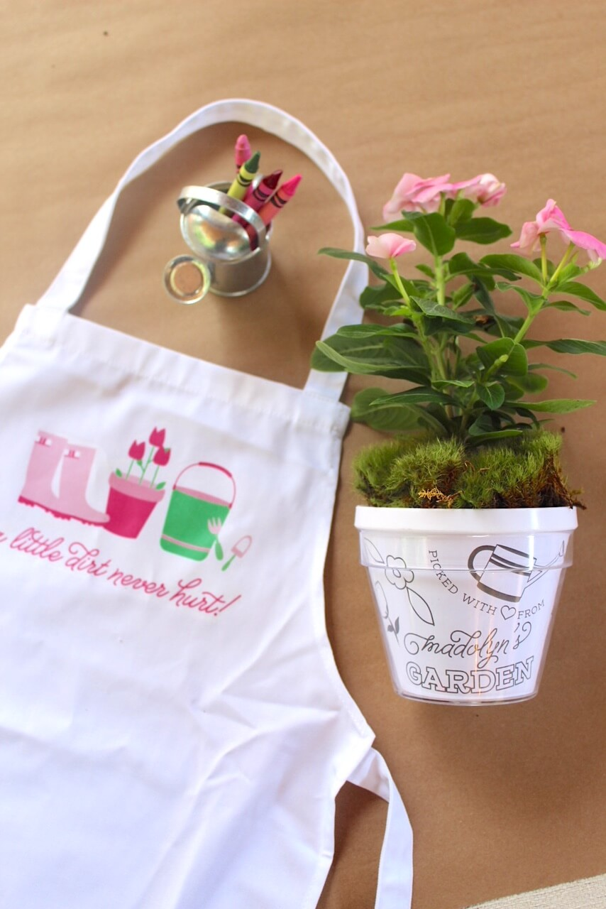custom aprons and planting pots for gardening birthday