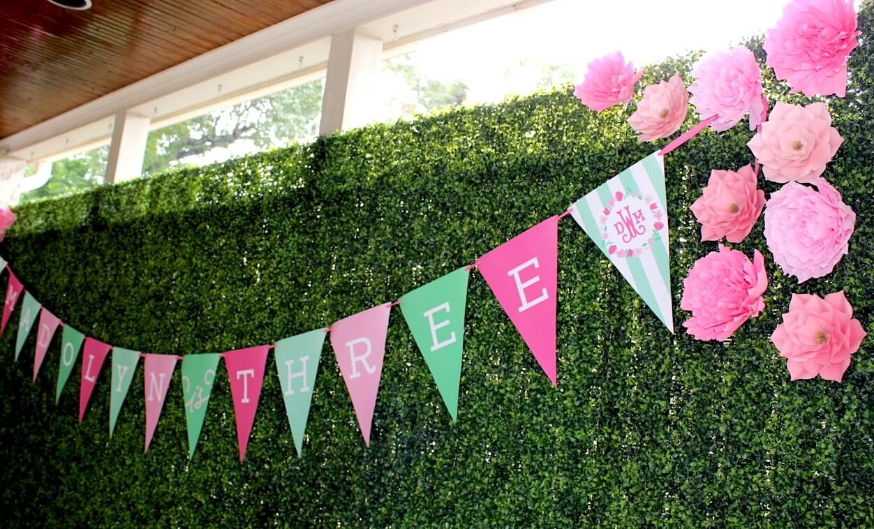 large penant birthday banner with monogram