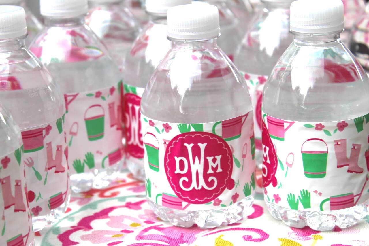 monogrammed custom water bottle labels