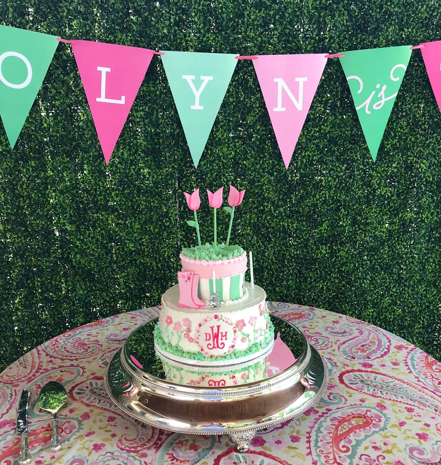 monogrammed pink and green tulip cake