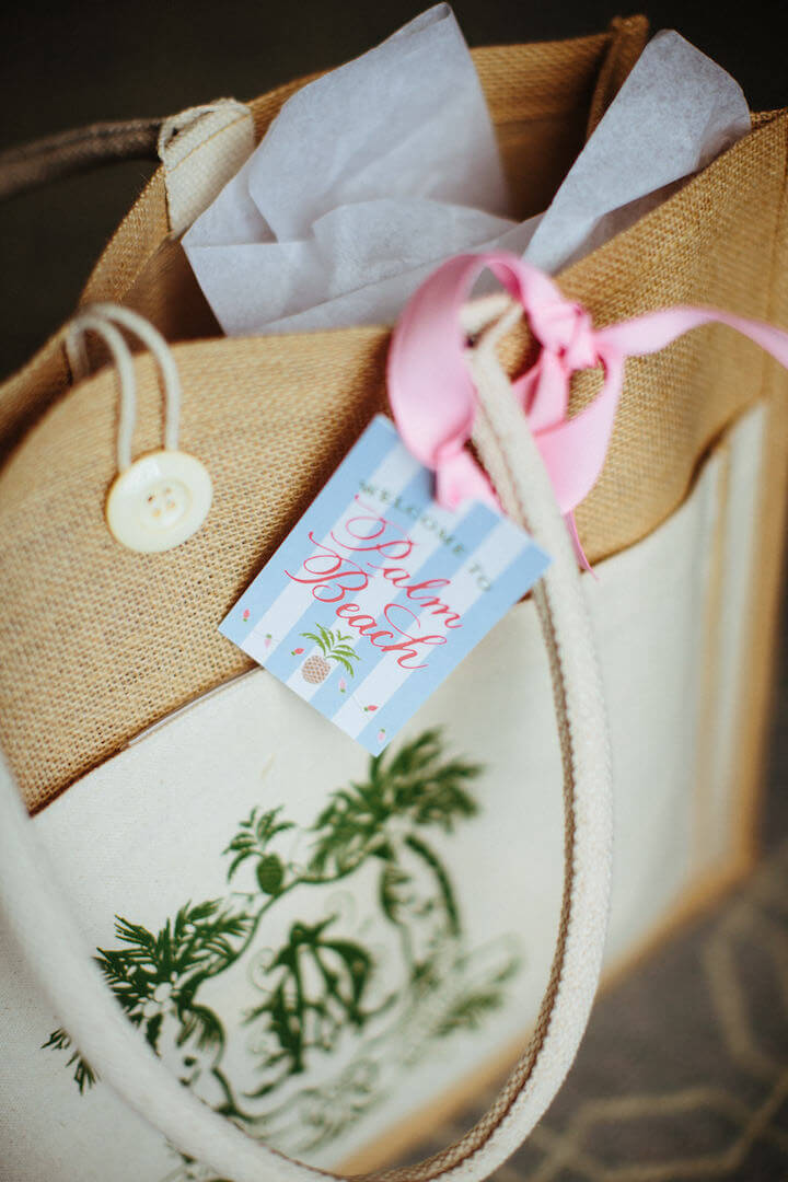wedding welcome bags with Welcome to Palm Beach tag