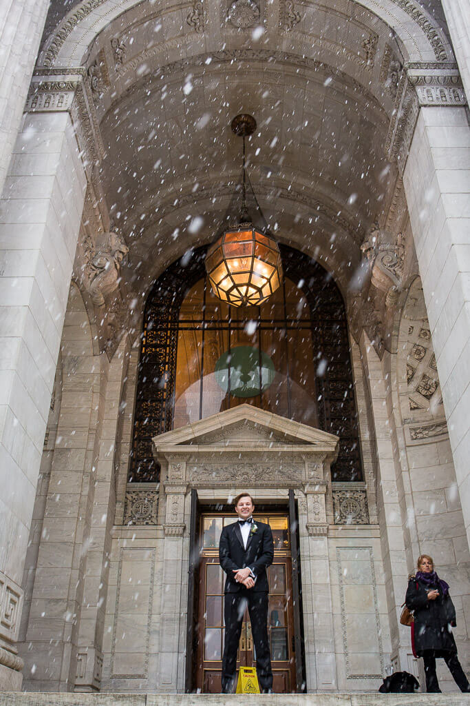 New York City wedding in snow