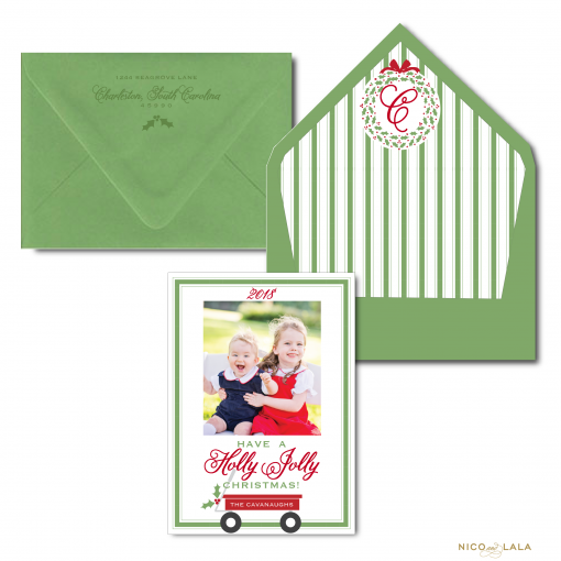 Red Wagon Christmas card in Red and Olive