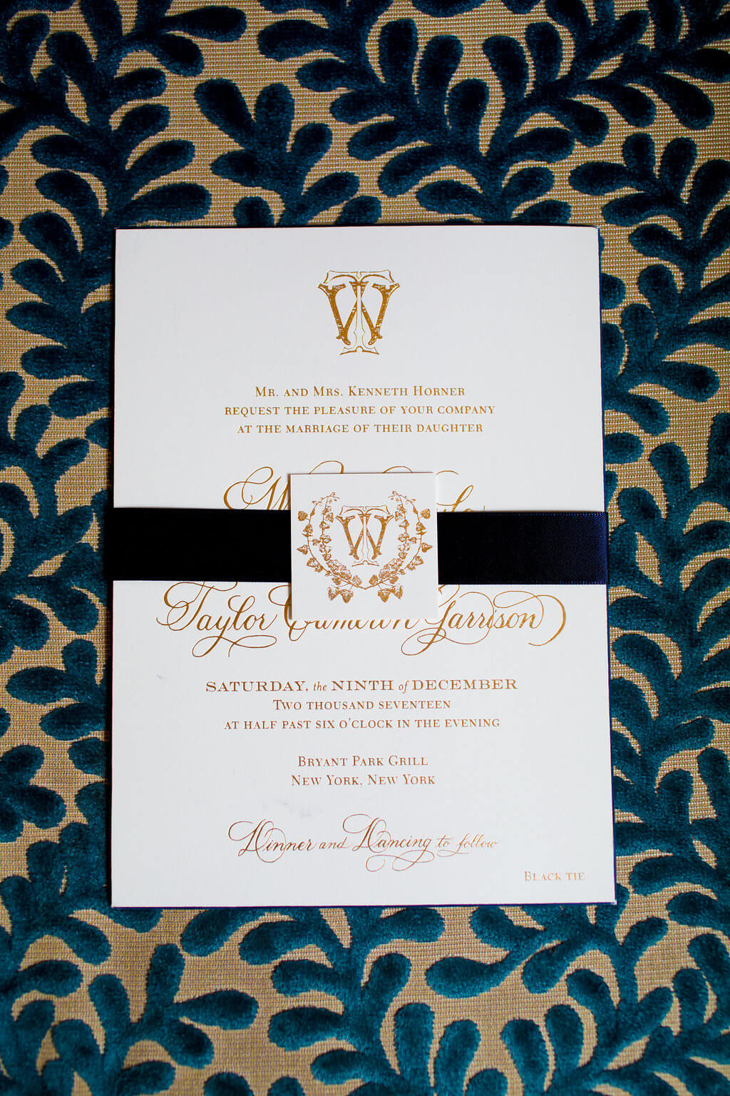 gold foil wedding invitations with navy beveled edge