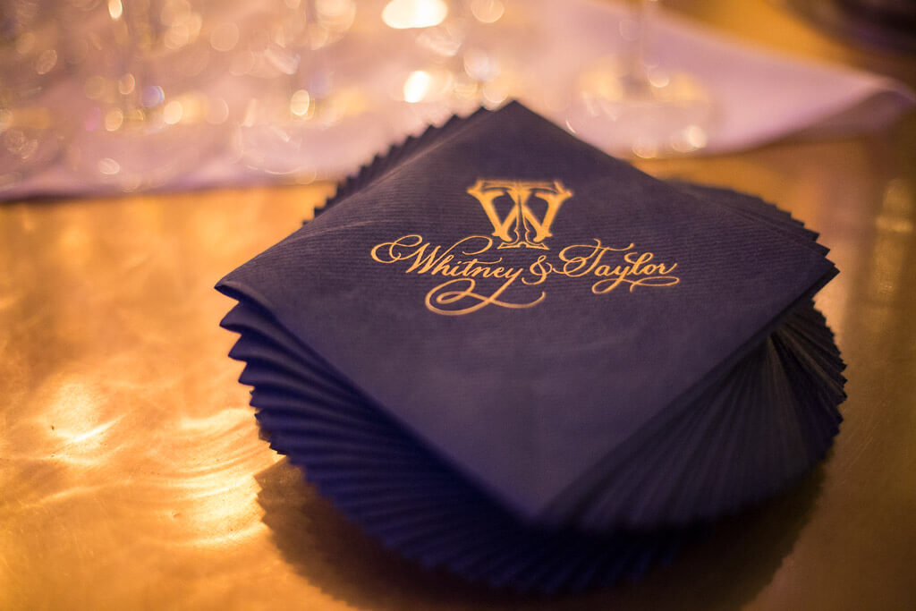 navy cocktail napkins with wedding monogram