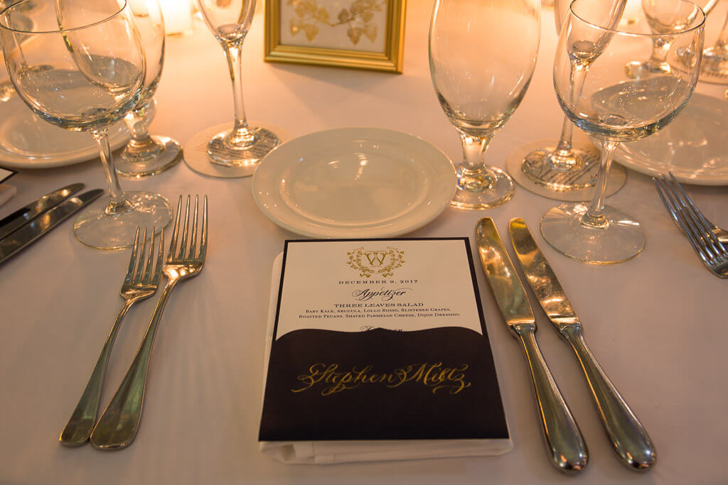 pocket menu with calligraphy and wedding monogram