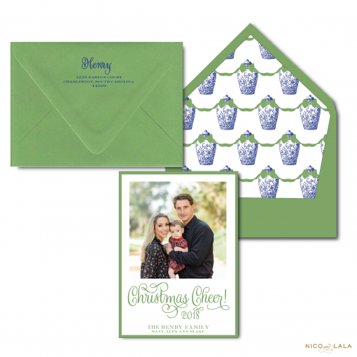 Green and Blue Ginger Jar Christmas Card