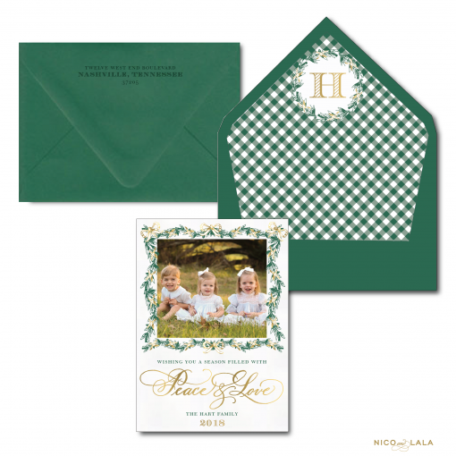 Garland Peace and Love Christmas Card