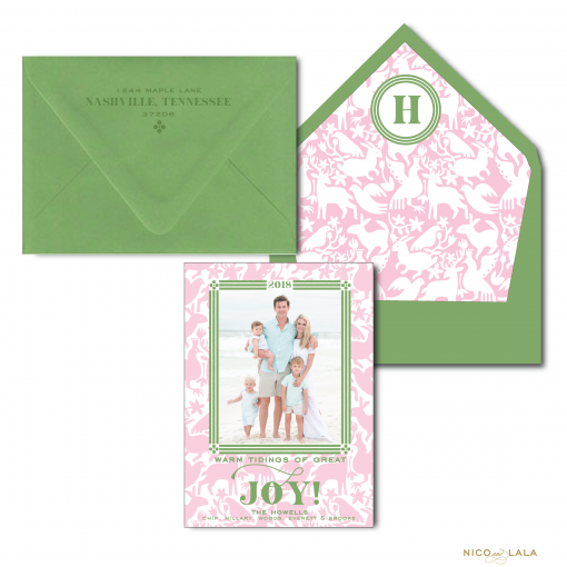 Gumdrop Green and Pink Otomi Christmas Cards