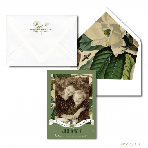 Christmas Card with magnolia leaves