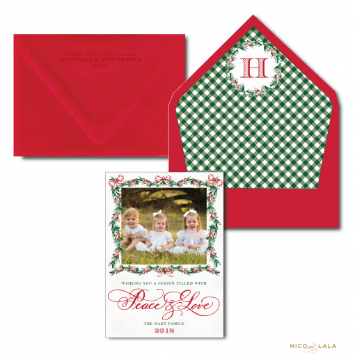 Red and Green Garland Peace and Love Christmas card