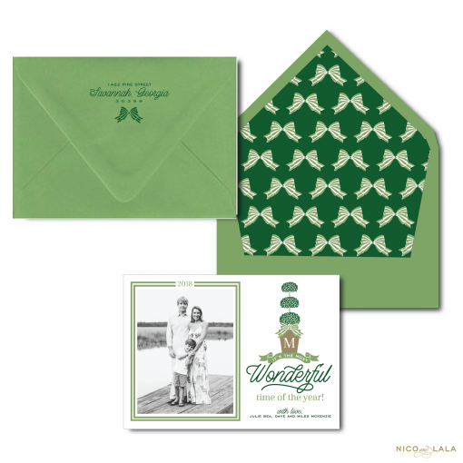 Christmas Card with Topiary in Gumdrop Green and Hunter