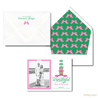 Christmas Card with Topiary in Pink and Green