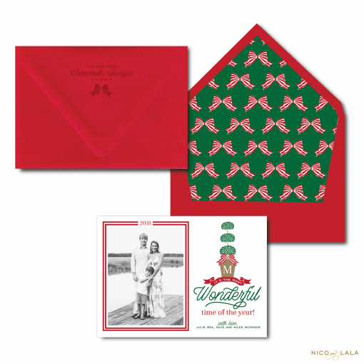 Christmas Card with Topiary in Red and Green