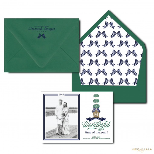 Christmas Card with Topiary in Navy and Green
