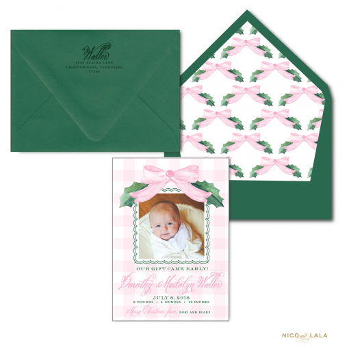 Watercolor Birth Announcement Christmas Card