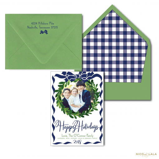 Wreath and Bow Christmas Card with Gingham Liner
