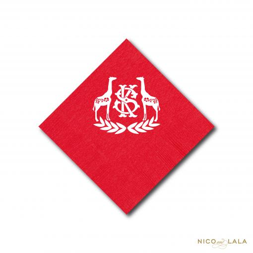 Monogrammed Giraffe Cocktail Napkins