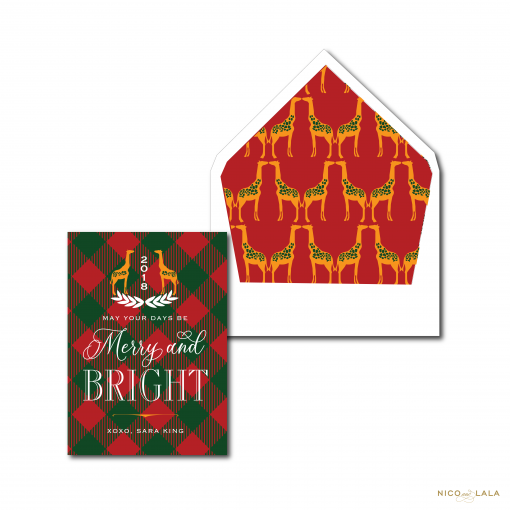 Giraffe and Plaid Christmas Card