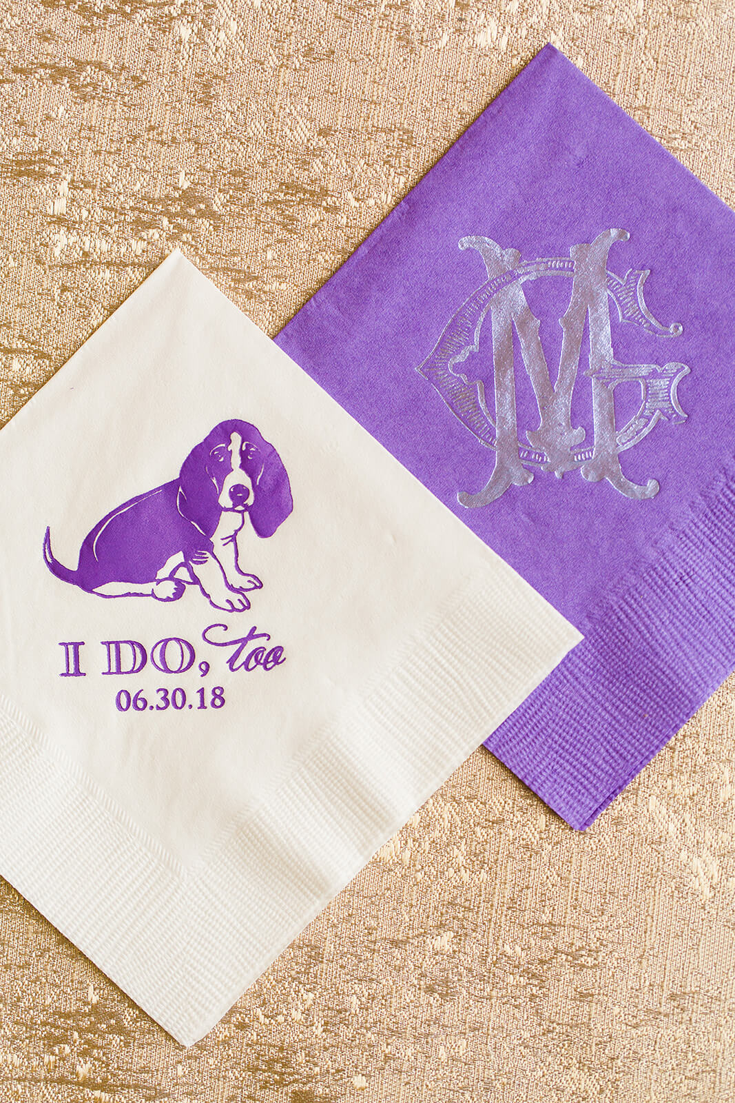 Cocktail napkin with couple's dog on it