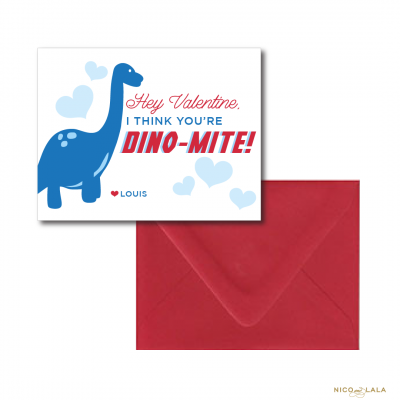 Dinosaur Themed Valentines day Cards