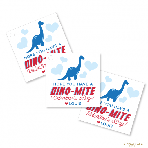 Dinosaur Themed Valentines day gift tags