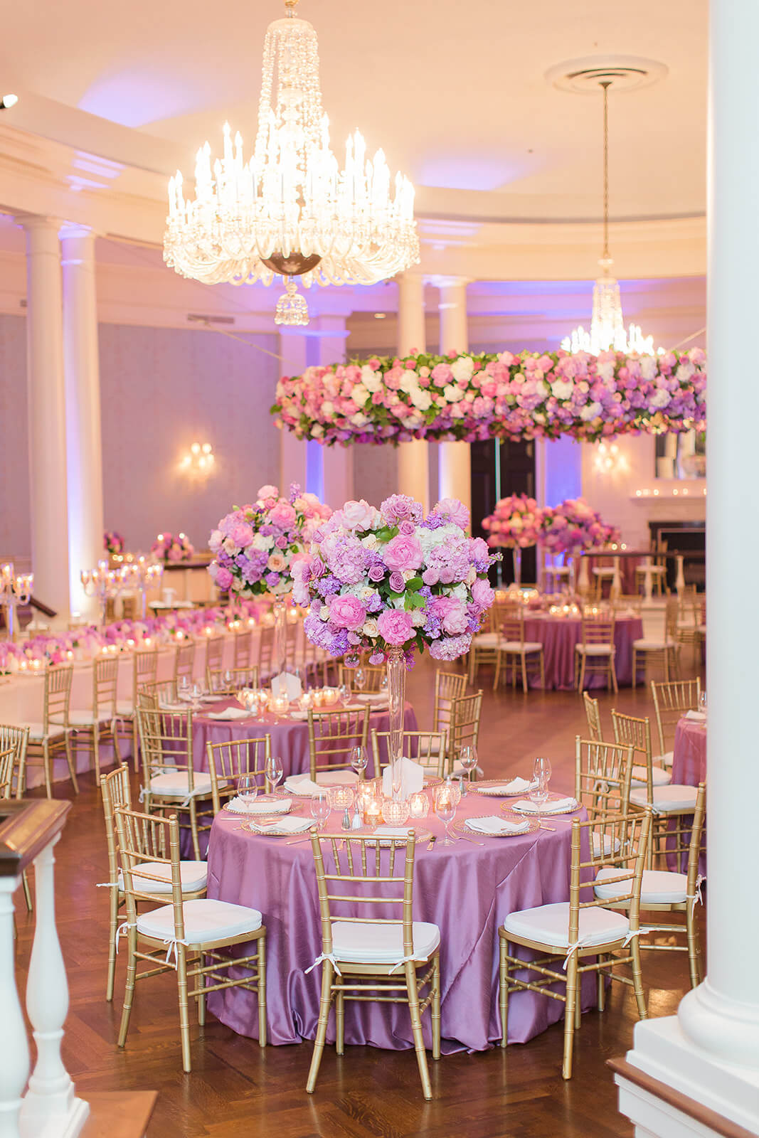 Lavender Southern wedding reception