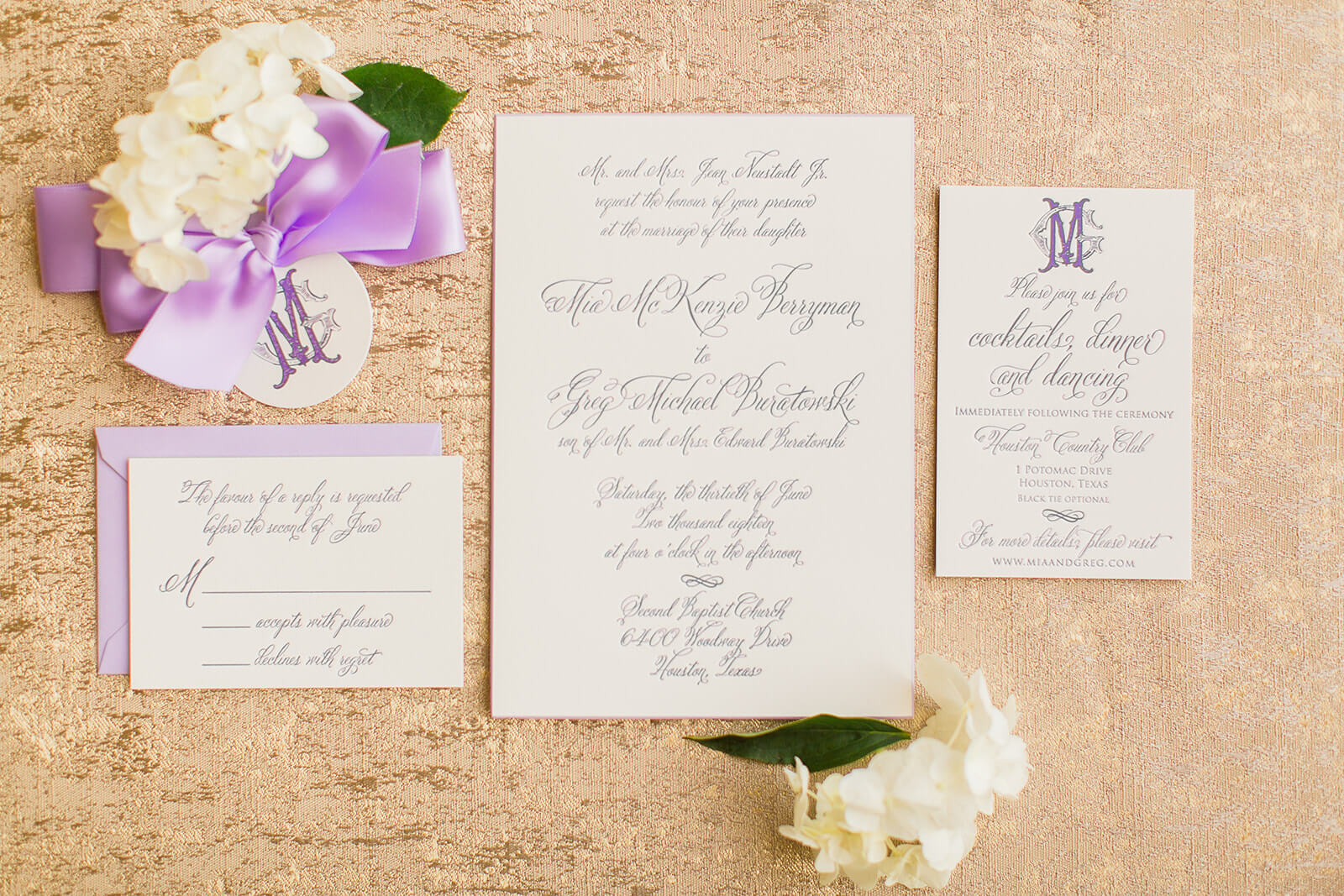 Traditional Lavender Texas Wedding Invitation