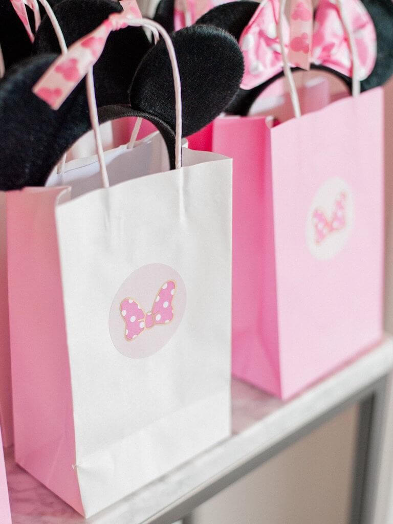 Pink and White Mickey Mouse Favor Bags