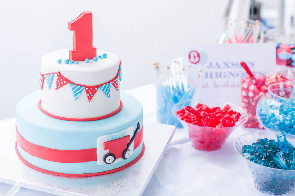 red wagon birthday cake
