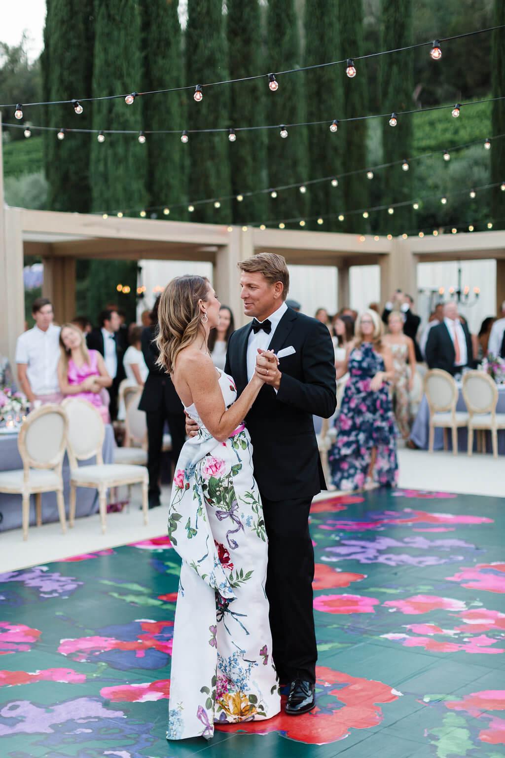 bright floral modern dance floor
